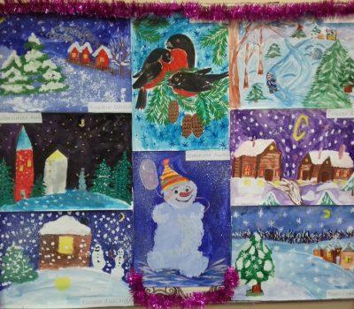 Новогодняя выставка рисунков в Таловской ДШИ
